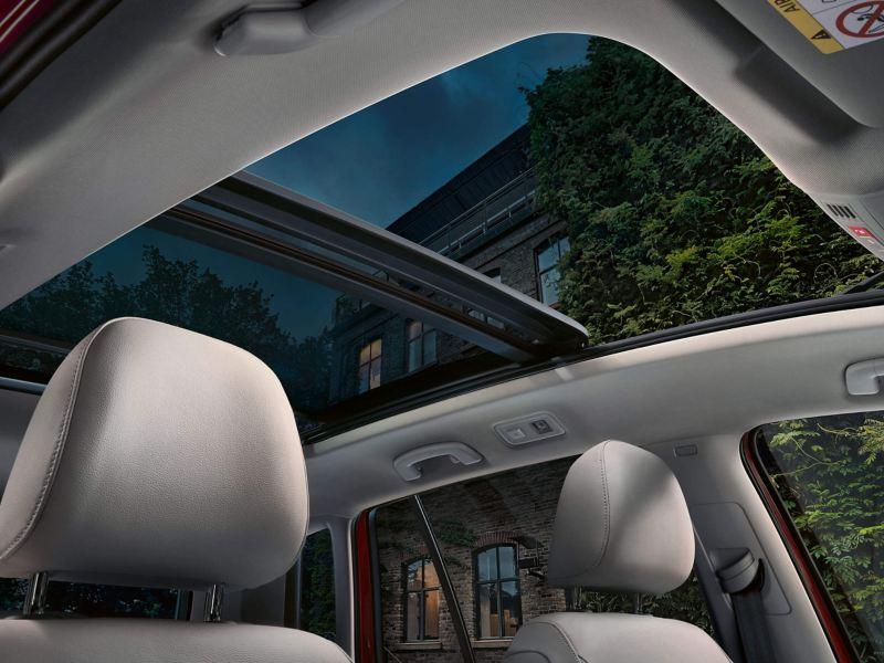 Interior shot of a tilting Volkswagen SV panoramic sunroof.