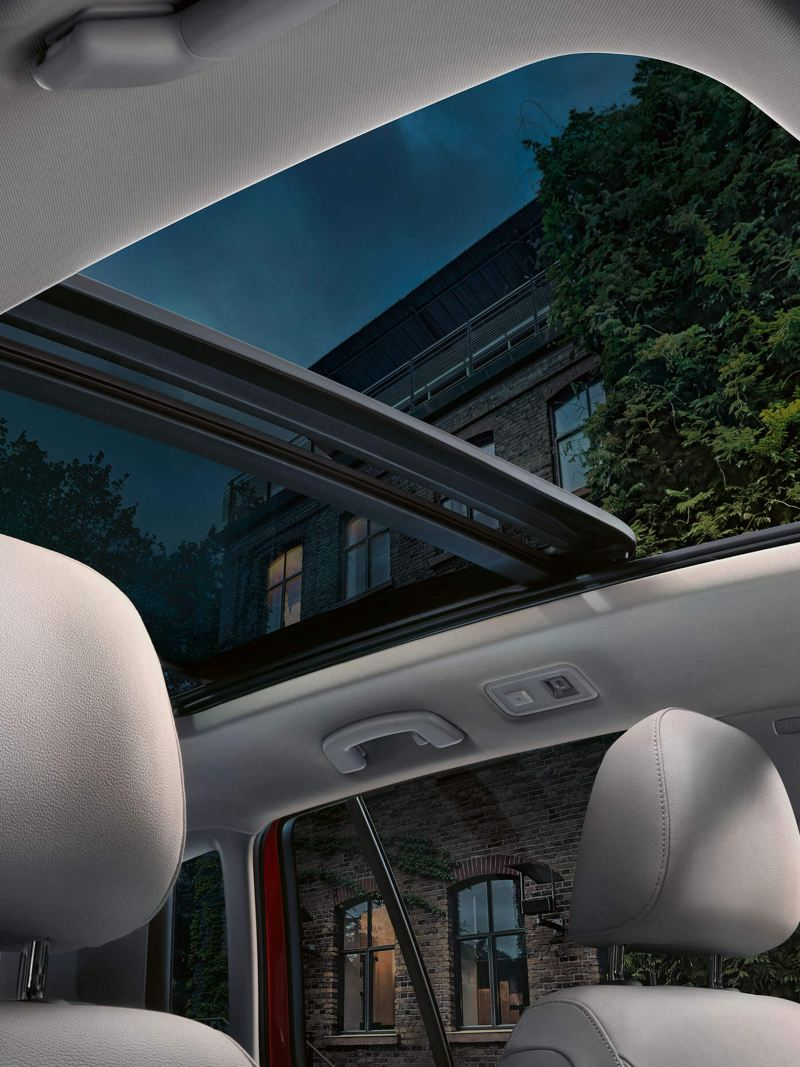 Interior shot of a tilting Volkswagen SV panoramic sunroof.