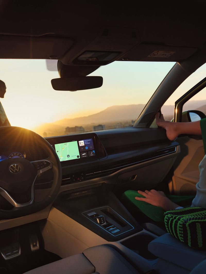 The interior of a the new Volkswagen Golf 8 in sunset
