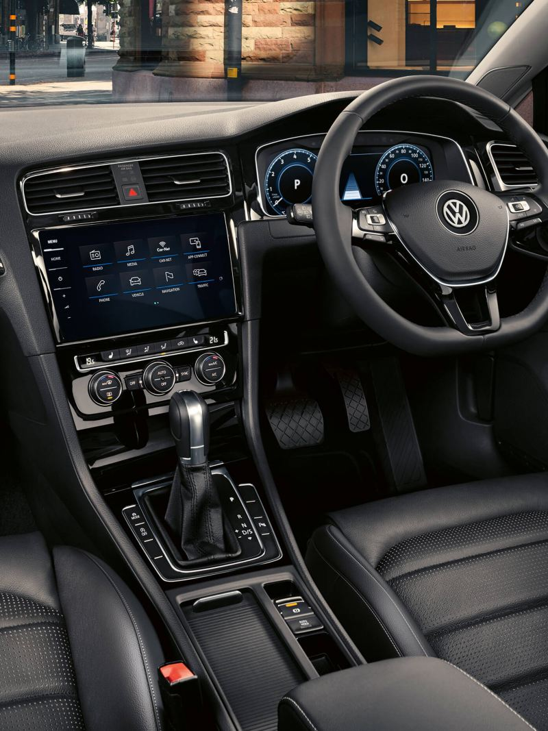 Interior dashboard shot of a Volkswagen Golf Estate.