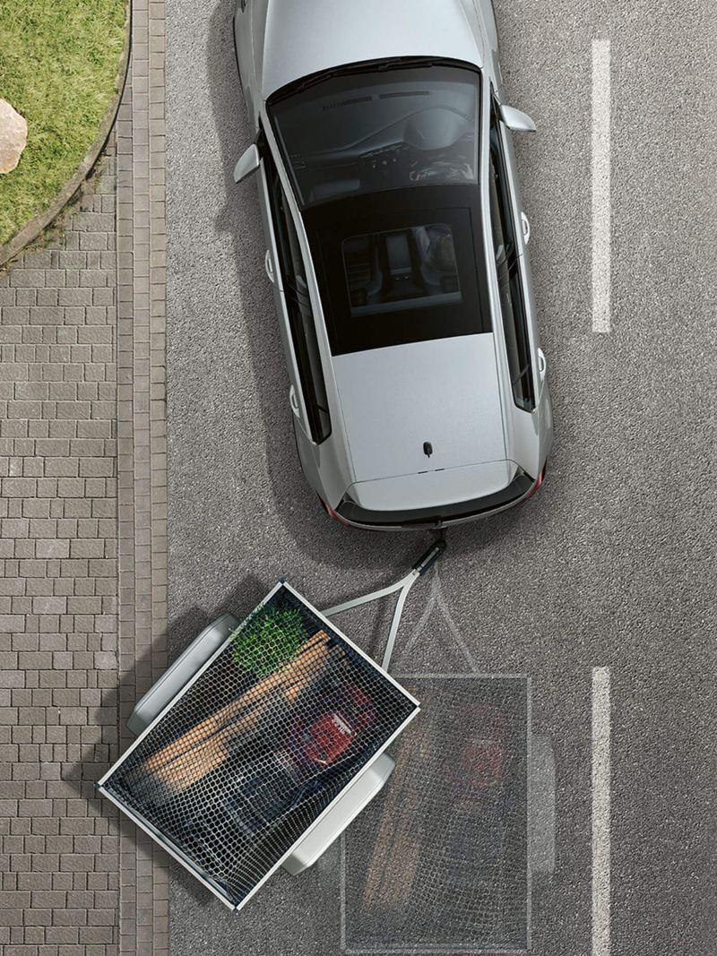 Arial shot of Trailer Assist system, in action.