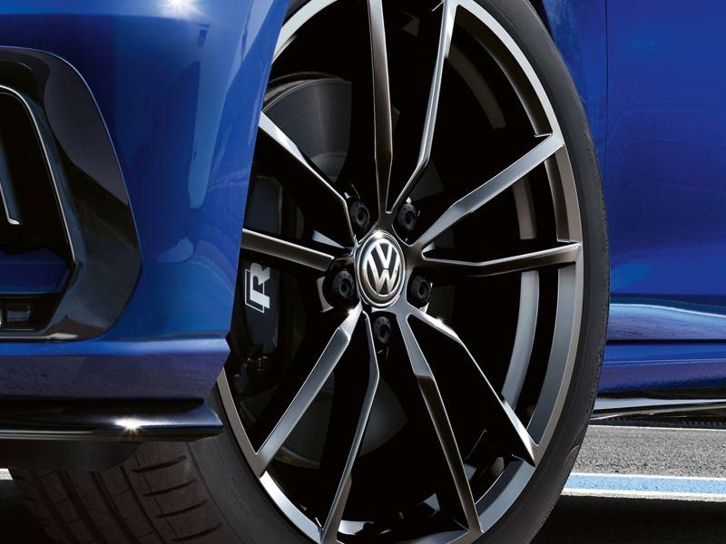 Alloy wheel shot of a blue Volkswagen Golf Estate R.