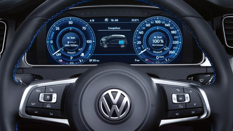 Active info display visible behind the steering wheel