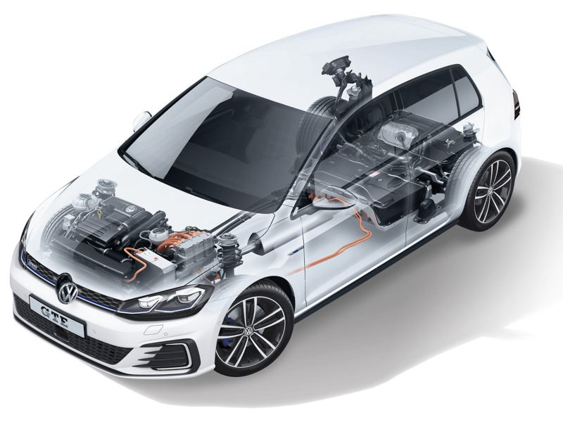 The Golf GTE with the inside areas visible.