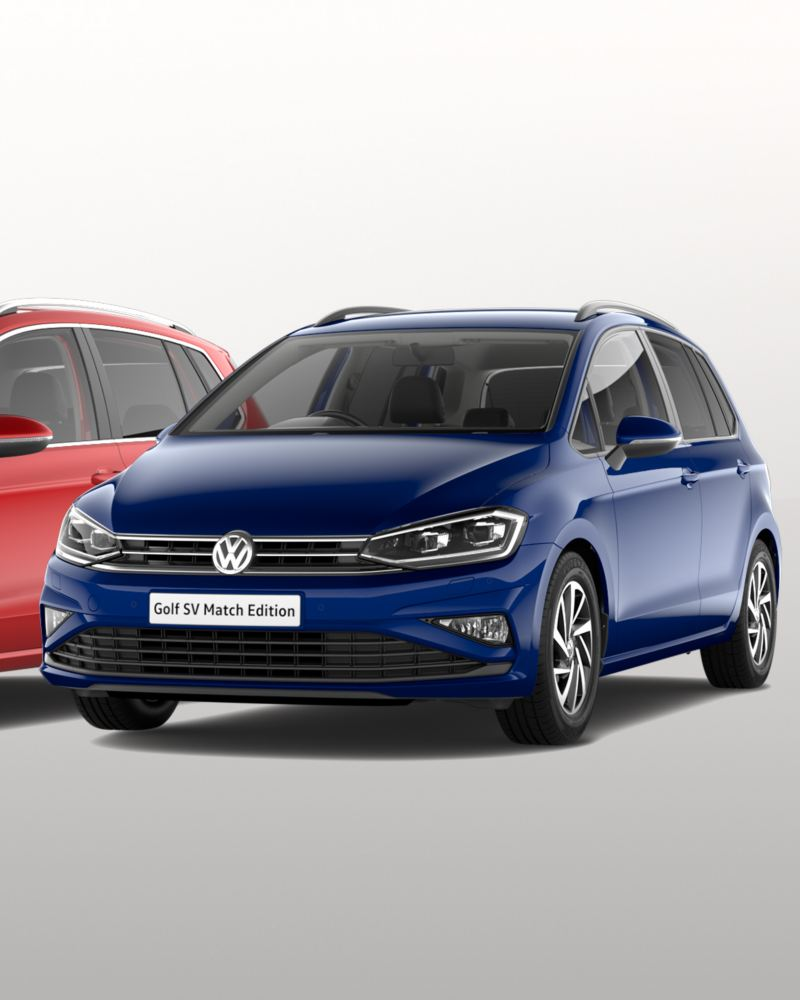 A red Volkswagen Golf SV GT Edition and a blue Volkswagen Golf SV Match Edition.