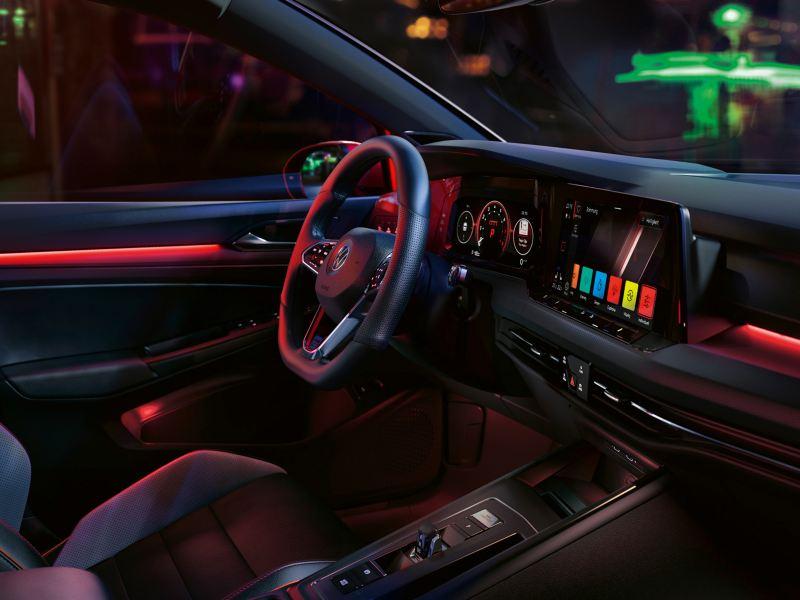 Interior shot of the Volkswagon Golf GTI