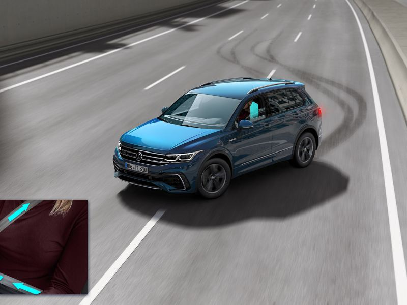 A visual representation of the Proactive occupant protection system feature with the new Tiguan