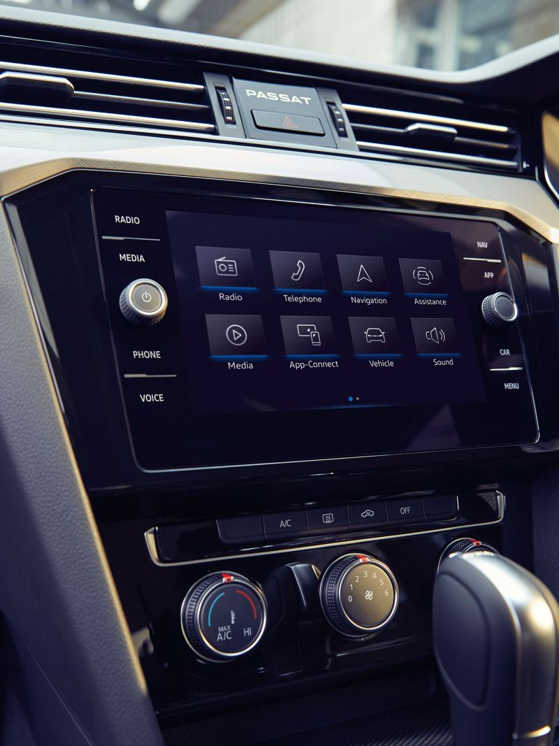 The centre console with the touchscreen of a Volkswagen Passat.
