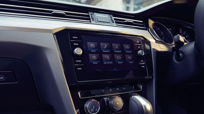 In built app-connect, shown inside a Volkswagen Passat.