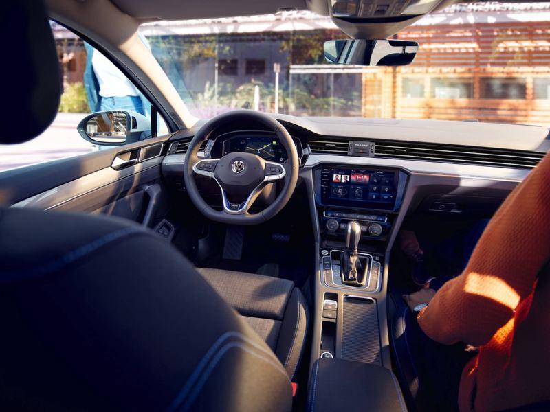 Interior shot of the Volkswagen Passat, dash board and steering wheel.