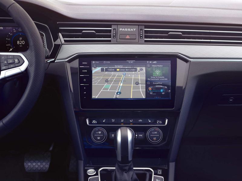 In built sat-nav showing inside a Volkswagen Passat.
