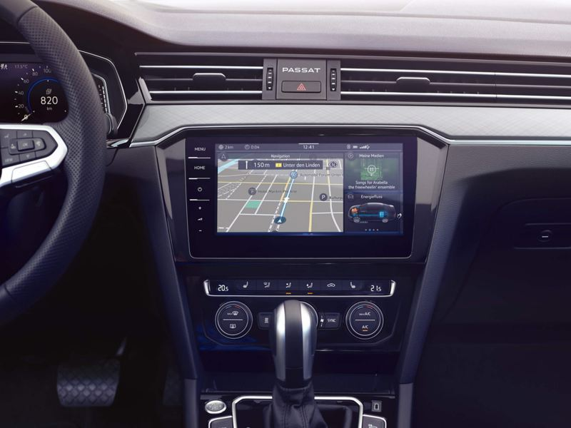 In built sat-nav showing inside a Volkswagen Passat.