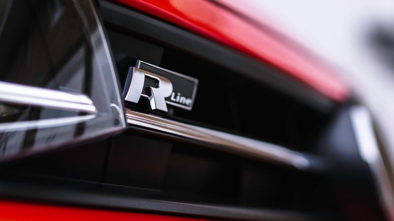 Volkswagen Polo R-line badge.