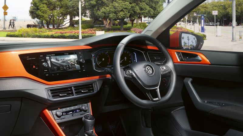 Interior view of the cabin in the Volkswagen Polo.