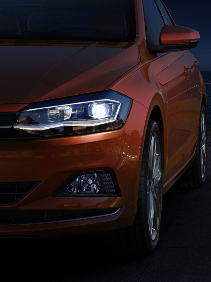 Polo's powerful headlights in the night