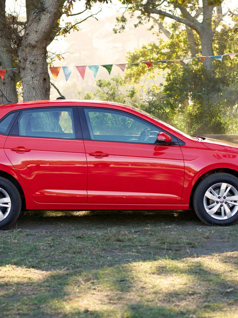 Exterior side shot of the Polo at a festival