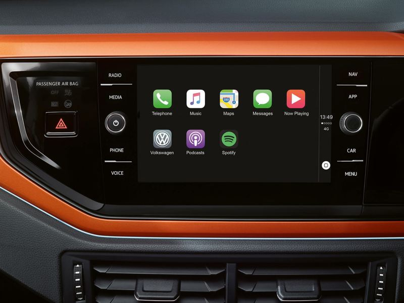 close-up view of the infotainment systems in the Polo