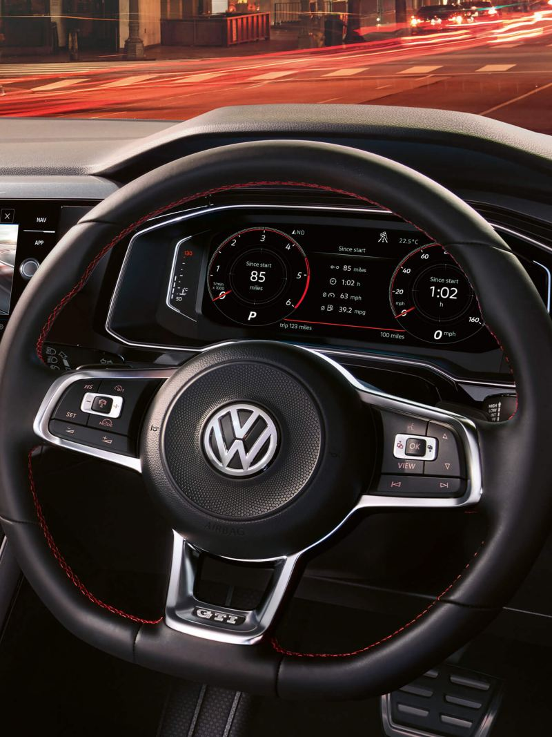 Close up of the Volkswagen Polo GTI steering wheel and dashboard