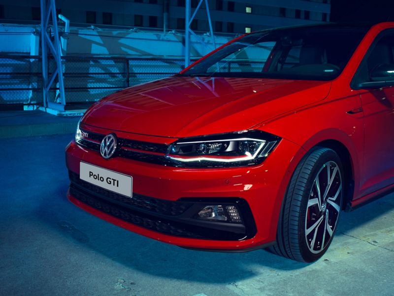 A red Volkswagen Polo GTI