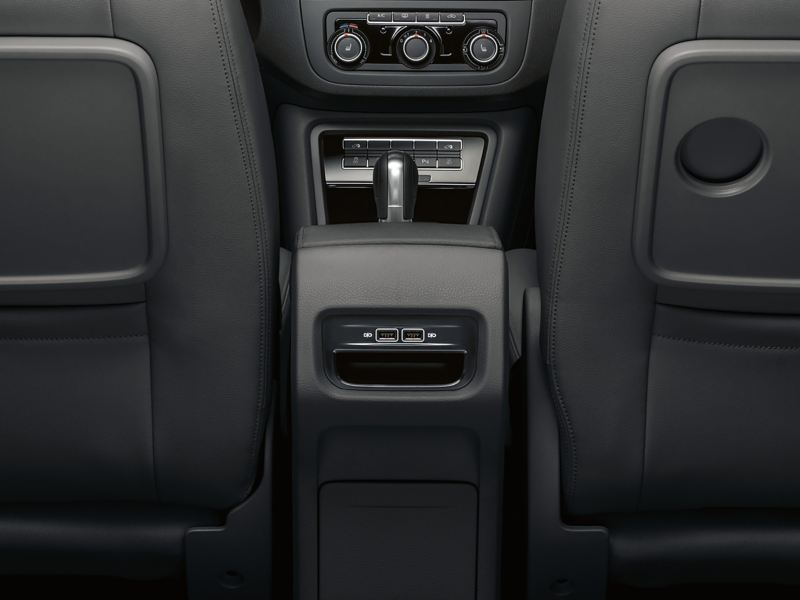 Leather details of aVolkswagen Sharan's interior.