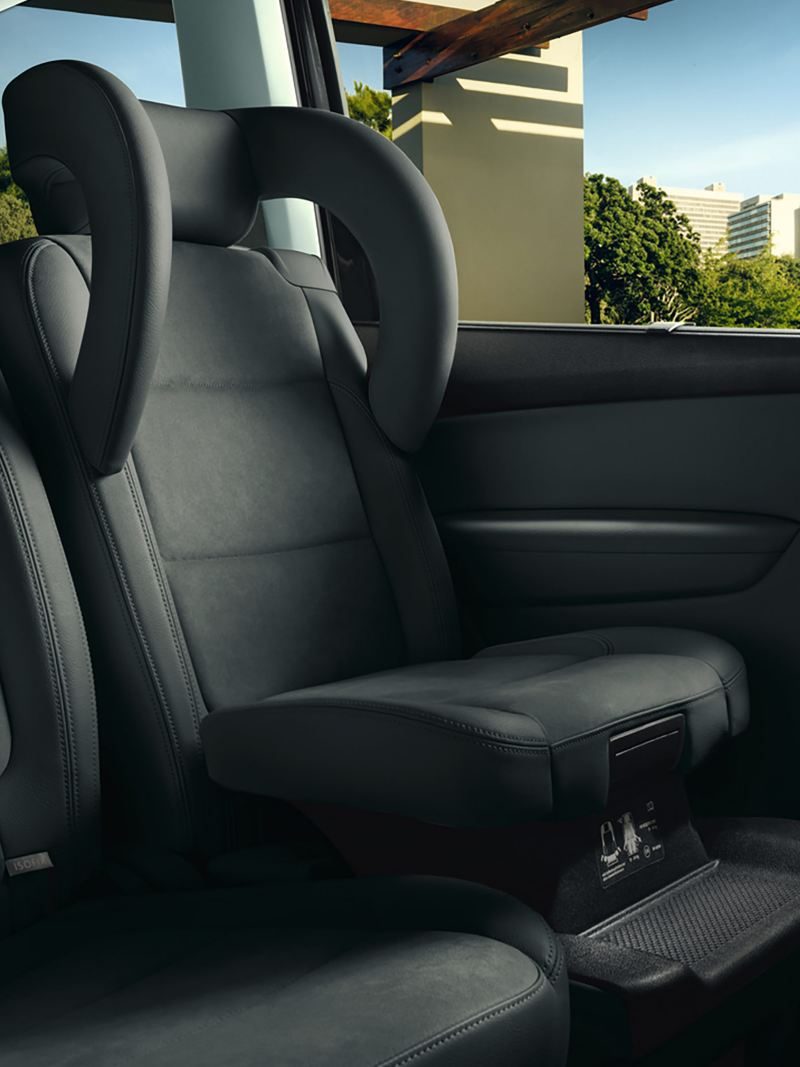 Rear seats of a Volkswagen Sharan showing ISOFIX.