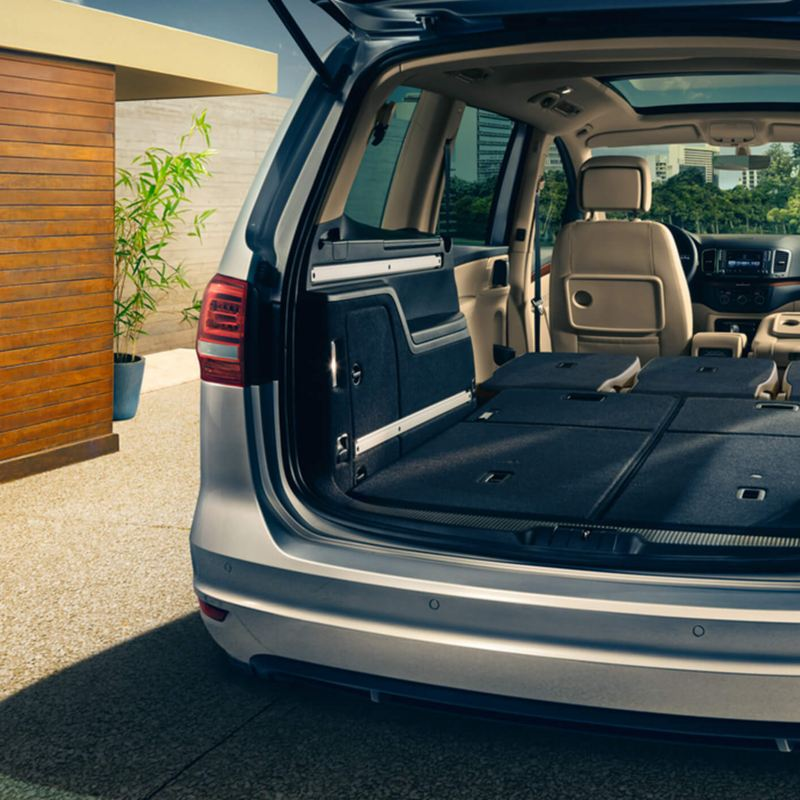 Spacious boot of a Volkswagen Sharan with the rear seats folded down.