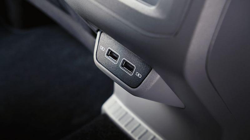 Shot of Volkswagen T-Cross interior USB slots