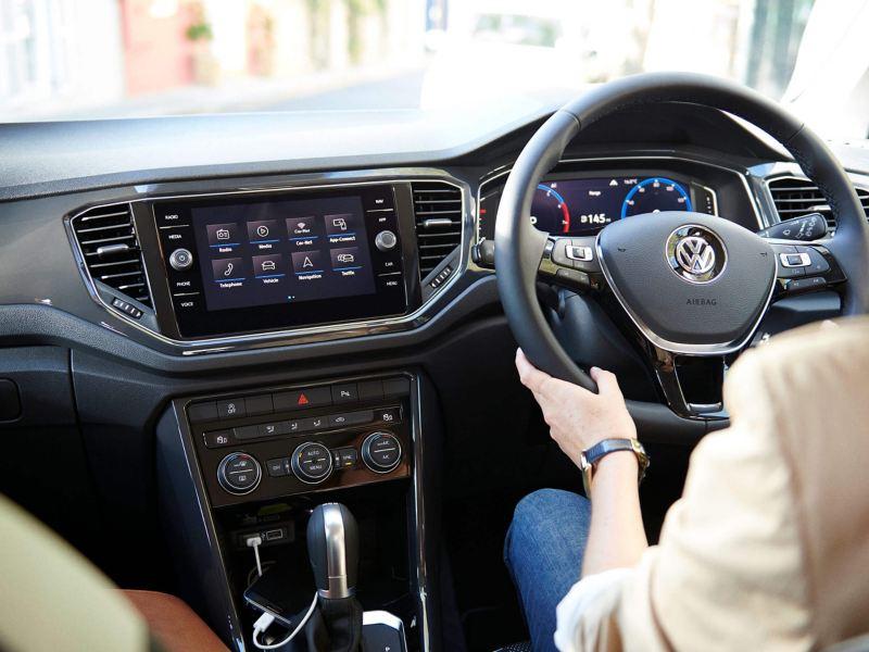Interior shot of a Volkswagen T-Roc, infotainment dashboard view.