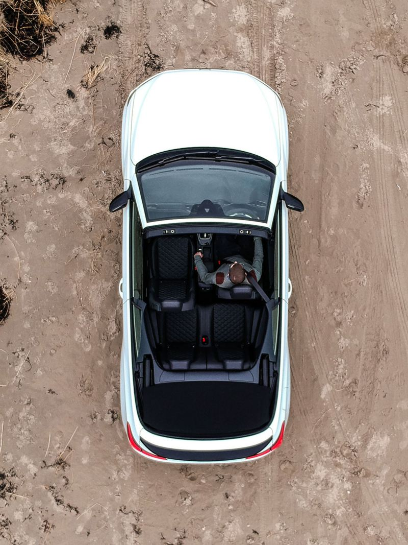 A white T-Roc Cabriolet from bird view