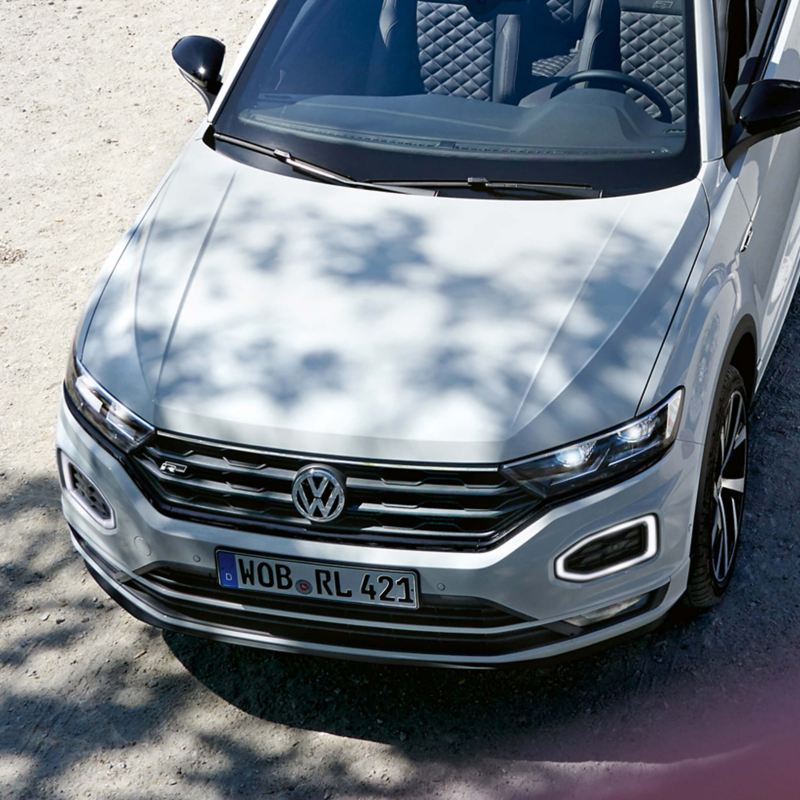 The front of a white Volkswagen T-Roc Cabriolet