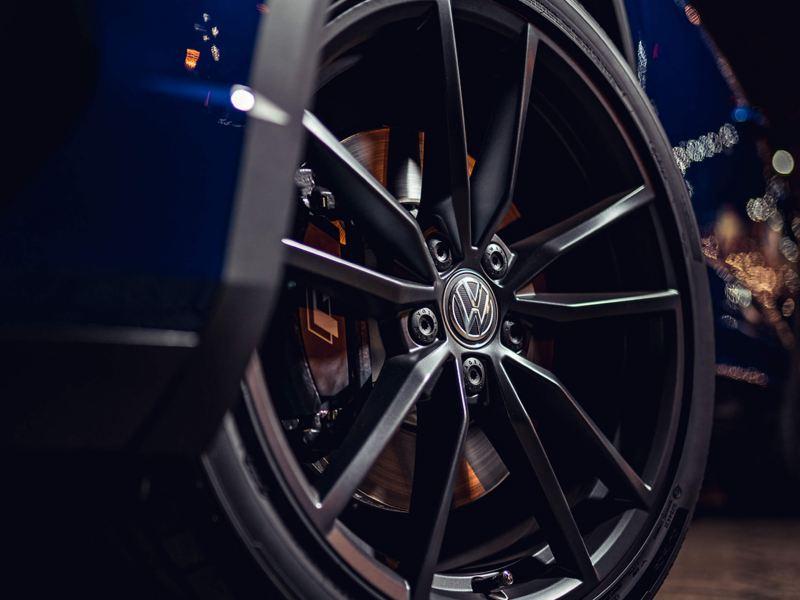 The wheel of a Volkswagen T-Roc R