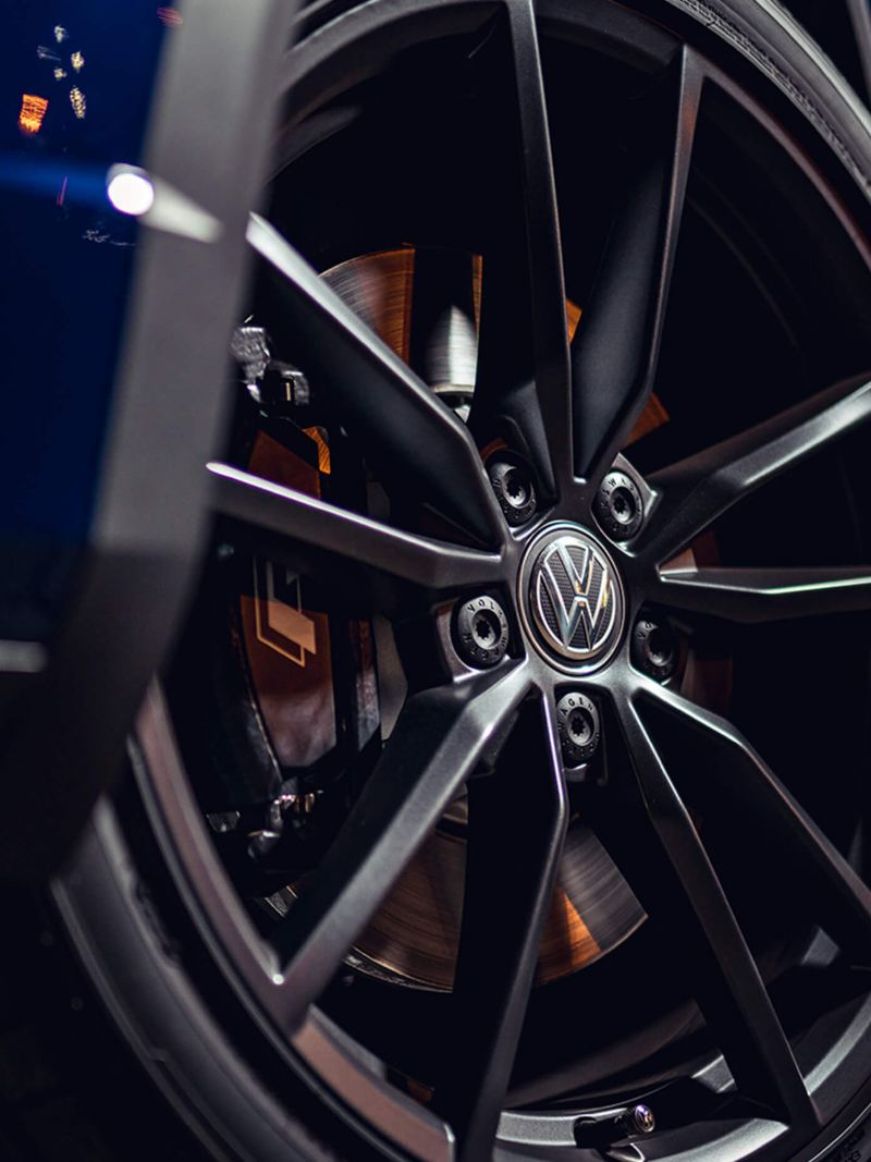 The wheel of a Volkswagen T-Roc R