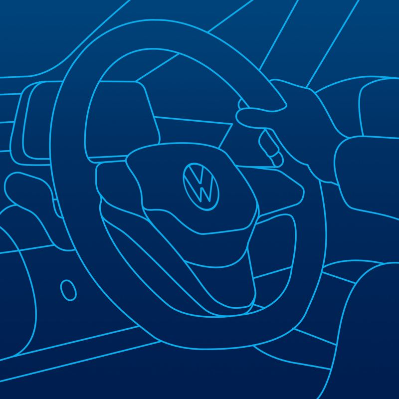 An illustration of a steering wheel inside a Volkswagen car