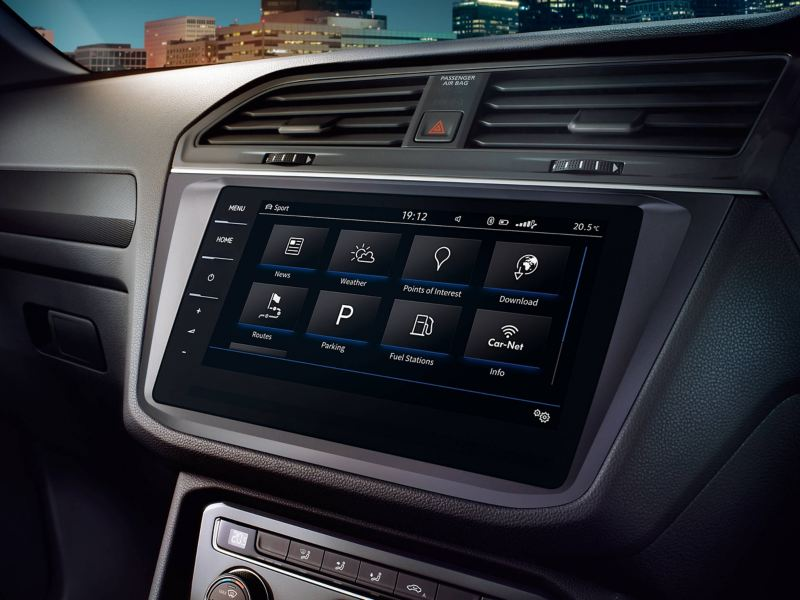 A Volkswagen Tiguan's eight-inch touchscreen infotainment system
