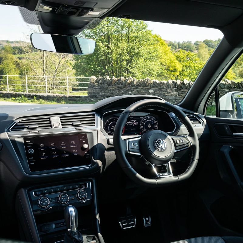 Volkswagen Tiguan interior with centre console, steering wheel and dashboard