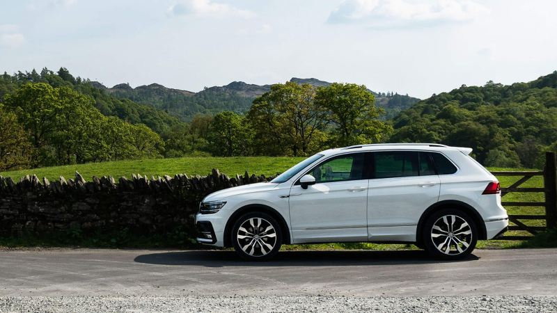 Profile view of a white Volkswagen Tiguan, ancient wall and forrest in the background.