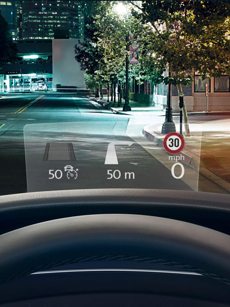 The head-up display of a Volkswagen Tiguan Allspace