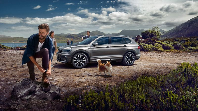 A grey Tiguan Allspace parked in the mountains with people and a happy dog