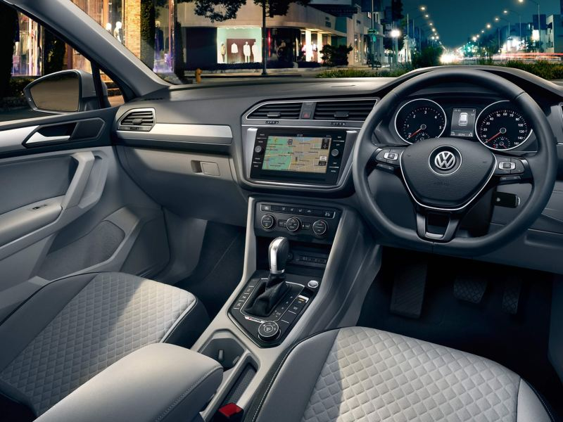 Volkswagen Tiguan Allspace interior with centre console, steering wheel and dashboard