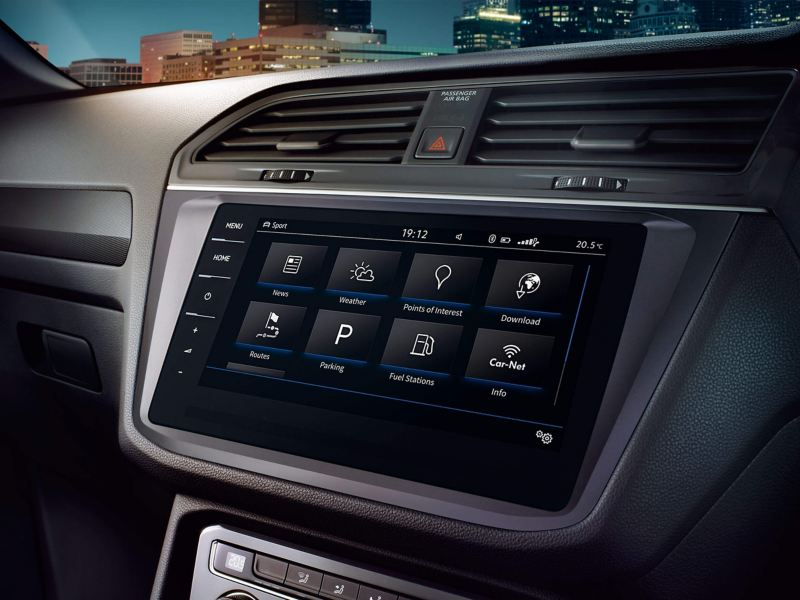 Volkswagen centre console with touchscreen