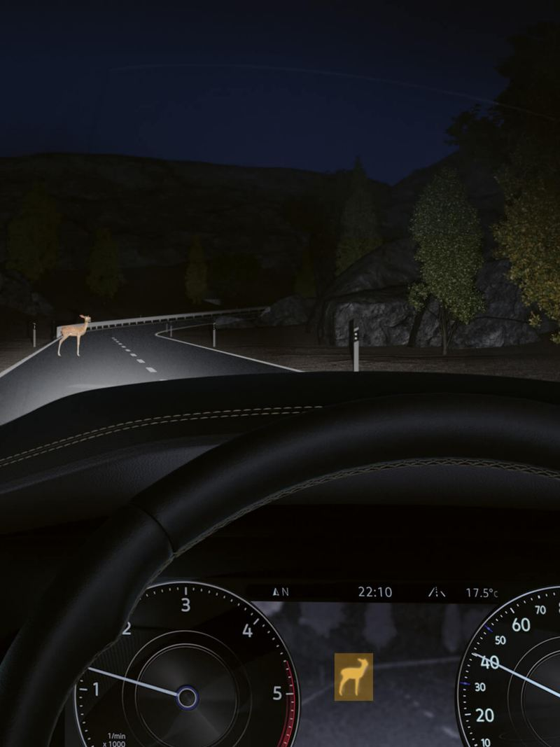 The night vision camera in action at night.