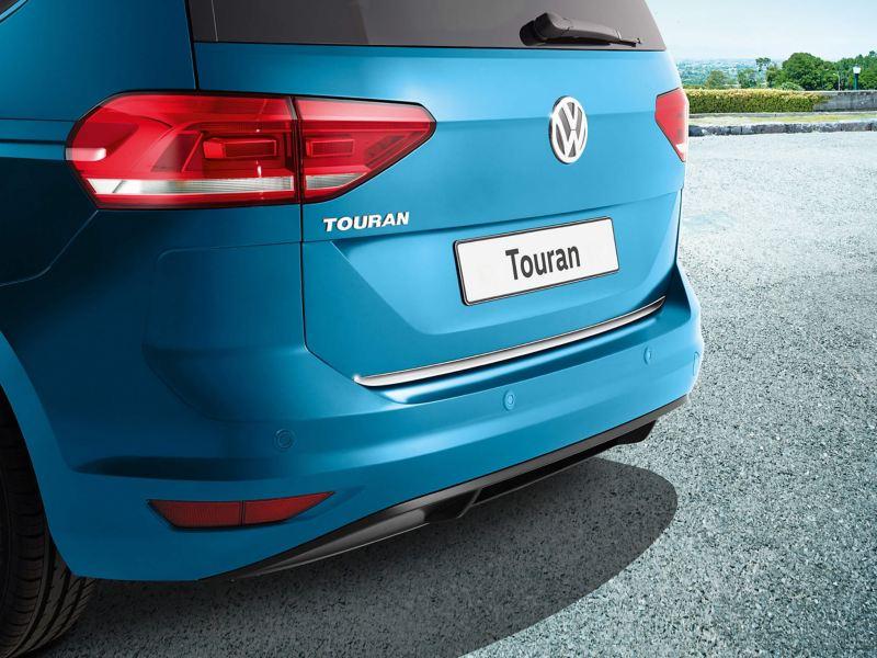 Rear view of a blue Volkswagen Touran