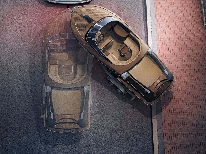 Overhead view of a boat attached to a car