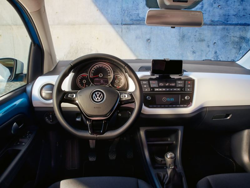 The interior view from a drivers seat of  blue new up!