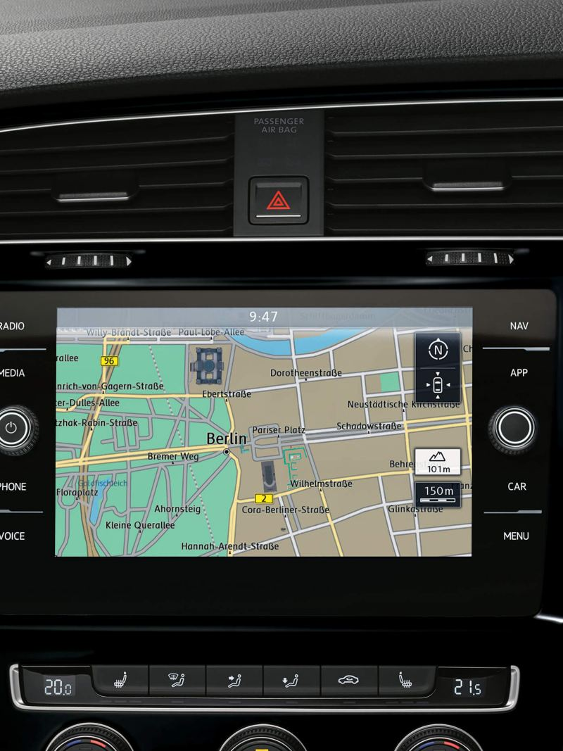 Interior shot of Car-Net navigation system, inside a Volkswagen Golf Estate Alltrack.