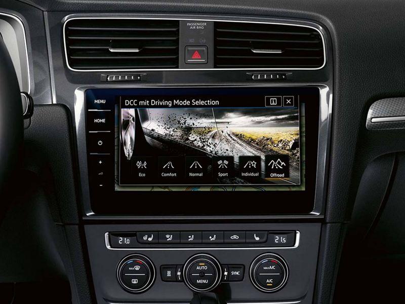 Interior shot of a Volkswagen Golf Estate Alltrack, infotainment dashboard view.