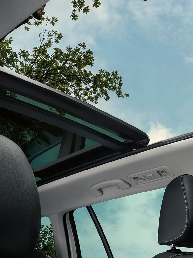 Interior sunroof shot of a Volkswagen Golf Estate Alltrack.
