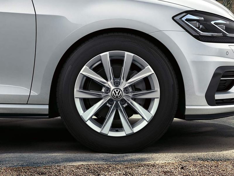 Alloy wheel shot of a white Volkswagen Golf Estate Alltrack.