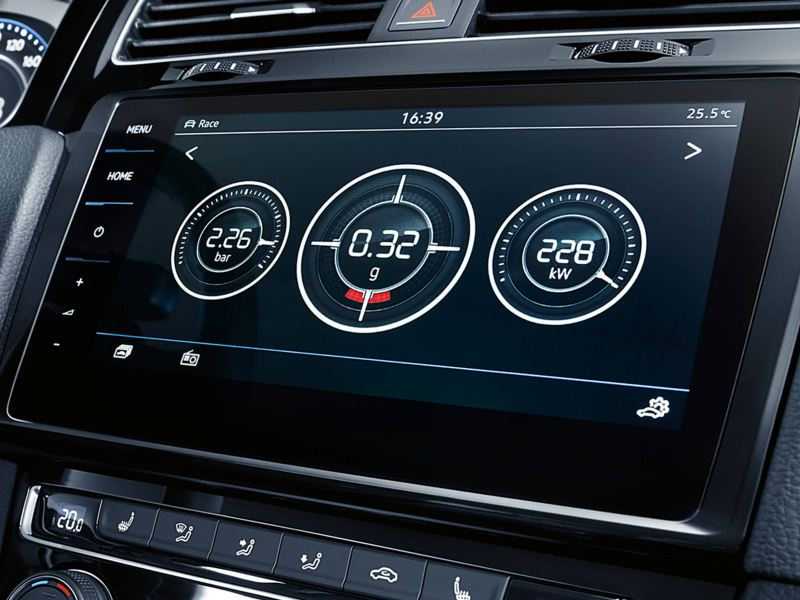 Close up view of VolkswagenGolf Estate R centre panel.
