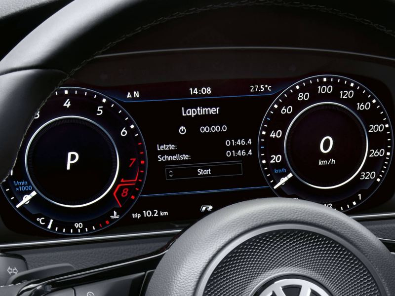 Close up view of Volkswagen Golf Estate R steering wheel and dashboard gages.